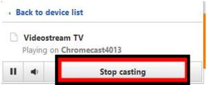 Videostream extension to Chromecast