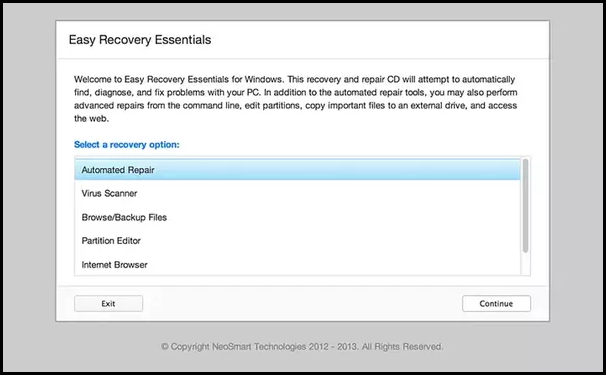 NeoSmart EasyRE (Easy Recovery Essentials) For Windows 7, Vista & Windows XP
