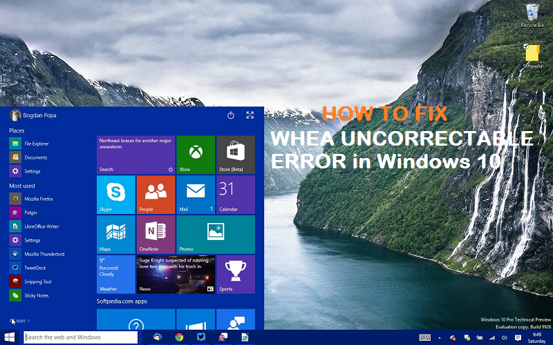 WHEA UNCORRECTABLE ERROR BSOD in Windows 10