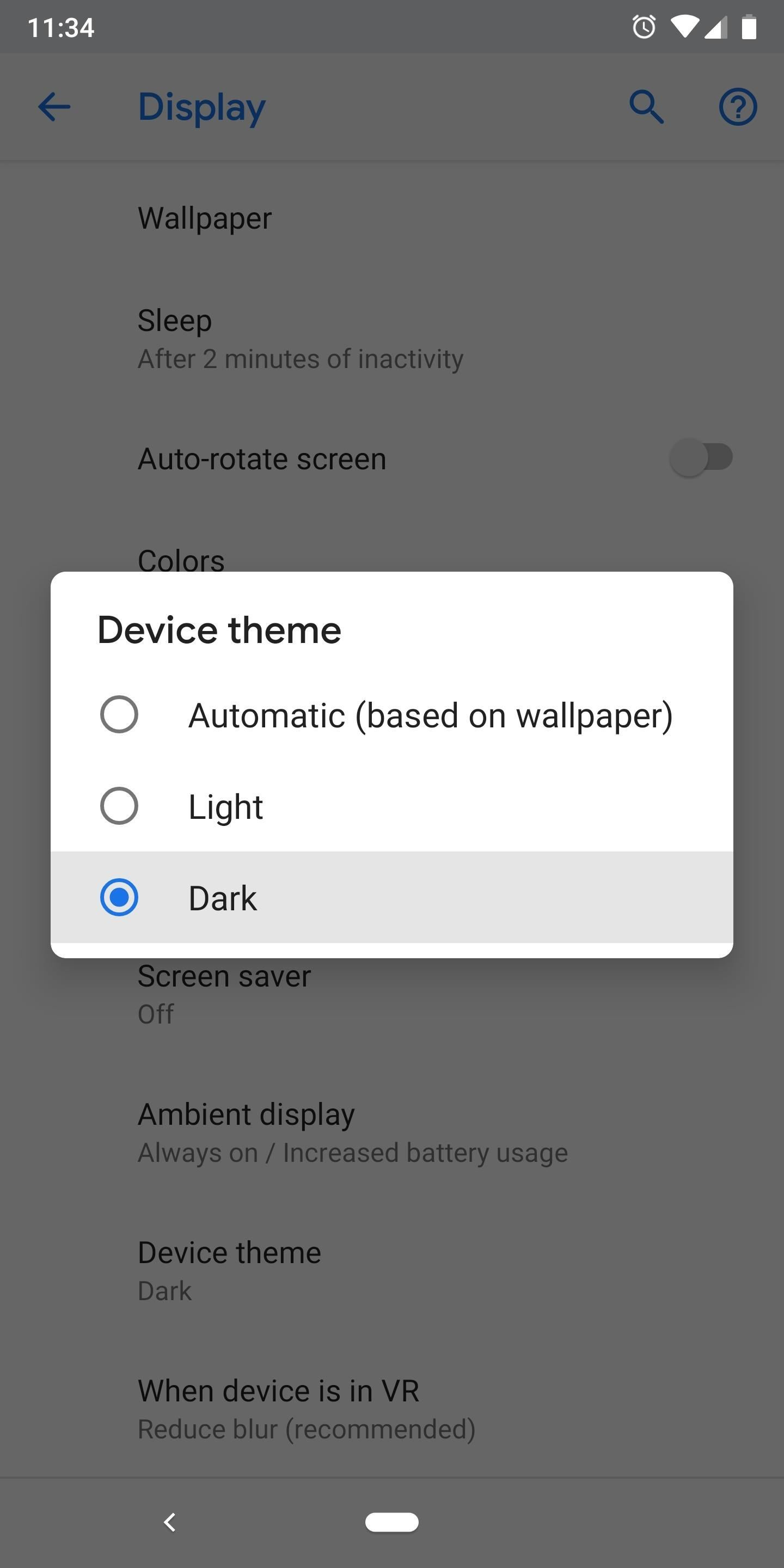 Turn On/Off Dark Mode on Android P