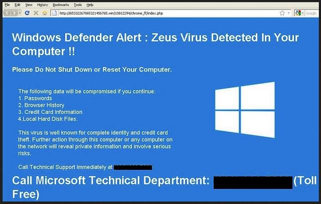 zeus virus detected