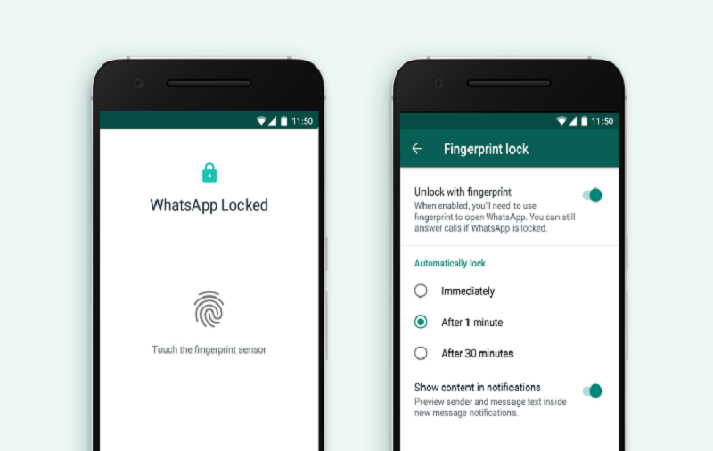 Turn On Fingerprint Lock on WhatsApp For Android